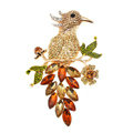 Bling Lark Bird Alloy Crystal Rhinestone DIY Phone Case Cover Deco Den Kit 66*97mm - Champagne
