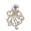Bling Octopus Alloy Crystal Rhinestone DIY Phone Case Cover Deco Den Kit - Color AB