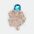 Bling Octopus Alloy Rhinestone Crystal DIY Phone Case Cover Deco Den Kit - Blue