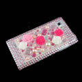 3D Flower Bling Crystal Case Rhinestone Cover for LG P880 Optimus 4X HD - Pink