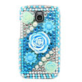 3D Flower Bling Crystal Case Rhinestone Cover for Samsung i9250 GALAXY Nexus Prime i515 - Blue