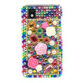 3D Flower Bling Crystal Case Rhinestone Cover for Samsung i9250 GALAXY Nexus Prime i515 - Green