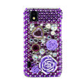3D Flower Bling Crystal Case Rhinestone Cover for Samsung i9250 GALAXY Nexus Prime i515 - Purple