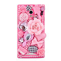 3D Flower Bling Crystal Case Rhinestone Cover shell for OPPO U705T Ulike2 - Pink