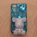 3D Gloomy bear Bling Crystal Case Rhinestone Cover shell for iPhone 4G 4S - Blue