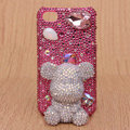 3D Gloomy bear Bling Crystal Case Rhinestone Cover shell for iPhone 4G 4S - Pink