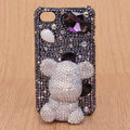 3D Gloomy bear Bling Crystal Case Rhinestone Cover shell for iPhone 4G 4S - Purple