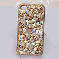 Alloy Skull Bling Crystal Case Rhinestone Cover for iPhone 4G 4S - Gold