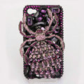 Alloy Spider Bling Crystal Case Rhinestone Cover for iPhone 4G 4S - Purple