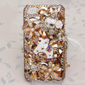 Alloy horse Bling Crystal Case Rhinestone Cover shell for iPhone 4G 4S - Champagne