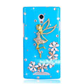 Angel gril Bling Crystal Case Rhinestone Cover shell for OPPO U705T Ulike2 - Blue