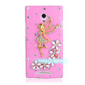 Angel gril Bling Crystal Case Rhinestone Cover shell for OPPO U705T Ulike2 - Pink