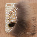 Angel wings Bling Crystal Case pearl Cover shell for iPhone 5 - White