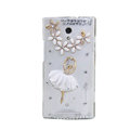 Ballet girl Bling Crystal Case Rhinestone shell Cover for OPPO U705T Ulike2 - White