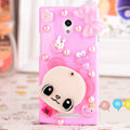Bear panda Bling Crystal Case Rhinestone Cover shell for OPPO U705T Ulike2 - Pink