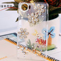 Bling Crystal Case Flowers Rhinestone Cover shell for OPPO finder X907 - White