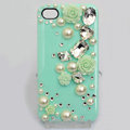 Bling Crystal green resin Flower DIY Cell Phone Case shell Cover Deco Den Kit