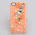 Bling Crystal orange resin Flower DIY Cell Phone Case shell Cover Deco Den Kit