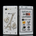 Bling Eiffel Tower Crystal Case Rhinestone Cover shell for LG P880 Optimus 4X HD - White