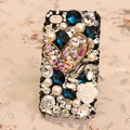 Bling alloy Heart Crystal Case Rhinestone Cover for iPhone 4G 4S - Black