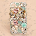 Bling alloy Heart Crystal Case Rhinestone Cover for iPhone 4G 4S - White