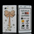 Bowknot Bling Crystal Case Rhinestone Cover shell for LG P880 Optimus 4X HD - Gold