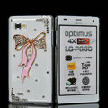 Bowknot Bling Crystal Case Rhinestone Cover shell for LG P880 Optimus 4X HD - Pink