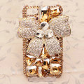 Bowknot Bling Crystal Case Rhinestone Cover shell for iPhone 4G 4S - Champagne