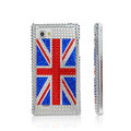 British flag Bling Crystal Case Rhinestone Cover for LG P880 Optimus 4X HD - Blue