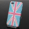 British flag Bling Crystal Case Rhinestone Cover shell for iPhone 4G 4S - Blue