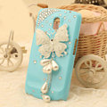 Butterfly Bling Crystal Case Rhinestone Cover for Samsung i9250 GALAXY Nexus Prime i515 - Blue