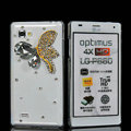 Butterfly Bling Crystal Case Rhinestone Cover shell for LG P880 Optimus 4X HD - White