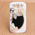 Butterfly Bling Crystal Case mirror pearl Cover for Samsung Galaxy SIII S3 I9300 I9308 I939 I535 - White