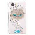 Charming cat Bling Crystal Case Rhinestone Cover shell for OPPO finder X907 - White