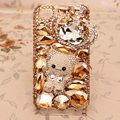 Crown bear Bling Crystal Case Rhinestone Cover shell for iPhone 4G 4S - Champagne