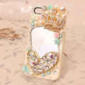 Crown mirror Bling Crystal Case pearl Cover for iPhone 4G 4S - Beige