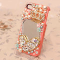 Crown mirror Bling Crystal Case pearl Cover for iPhone 4G 4S - Orange