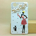 Cute girl Bling Crystal Case Rhinestone Cover shell for OPPO finder X907 - White