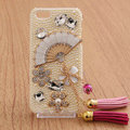 Fan Tassel Bling Crystal Case pearl Cover shell for iPhone 5 - White