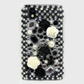 Flower 3D Bling Crystal Case Rhinestone Cover for Samsung i9250 GALAXY Nexus Prime i515 - Black