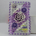 Flower Bling Crystal Case Rhinestone Cover shell for LG E400 Optimus L3 - Purple