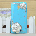 Flower Bling Crystal Case Rhinestone Cover shell for OPPO U705T Ulike2 - Blue