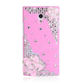 Flower Bling Crystal Case Rhinestone Cover shell for OPPO U705T Ulike2 - Pink