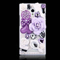 Flower Bling Crystal Case Rhinestone Cover shell for OPPO U705T Ulike2 - Purple