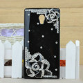 Flower Bling Crystal Case Rhinestone shell Cover for OPPO U705T Ulike2 - Black