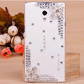 Flower Bling Crystal Case Rhinestone shell Cover for OPPO U705T Ulike2 - White