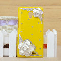 Flower Bling Crystal Case Rhinestone shell Cover for OPPO U705T Ulike2 - Yellow