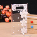Flower Bling Crystal Case pearl Cover shell for LG E400 Optimus L3 - White