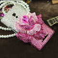 Flower Luxury Bling Crystal Case Rhinestone shell Cover for OPPO U705T Ulike2 - Pink