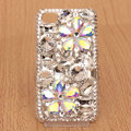 Flowers Bling Crystal Case Rhinestone Cover shell for iPhone 4G 4S - White